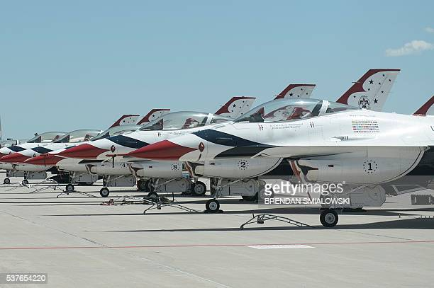 F16 jets are seen on the Tarmac were US President Barack Obama met with a Thunderbird pilot who crashed earlier in the day during an Air Force...