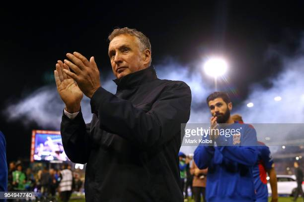 Jets coach Ernie Merrick applauds the crowd as he leave the field after the 2018 ALeague Grand Final match between the Newcastle Jets and the...
