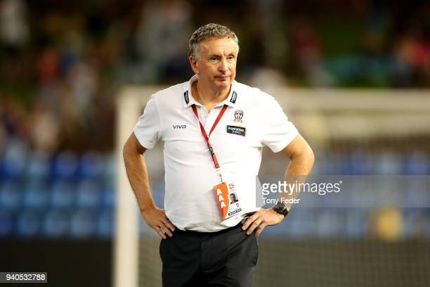 Jets coach Ernie Merrick looks dejected after losing to Melbourne City during the round 25 ALeague match between the Newcastle Jets and Melbourne...