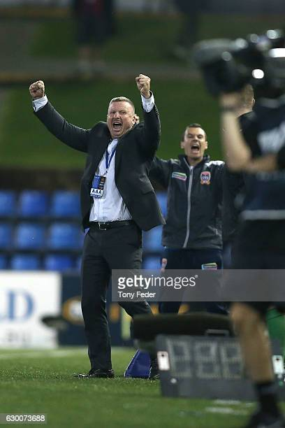 Jets coach Mark Jones celebrates after the Jets beat Adealaide during the round 11 ALeague match between the Newcastle Jets and Adelaide United at...
