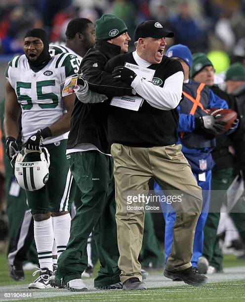 Jets coach Rex Ryan celebrates after his team's win The New England Patriots host the New York Jets in an AFC Playoff Game at Gillette Stadium in...