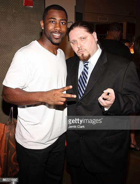 Jets Darrelle Revis and Pro Wrestler/Actor/Author Brimstone attend the 2nd annual Fashion and Football event at the Equinox Space on April 25 2009 in...