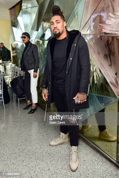 Jets defensive end Leonard Williams attends the Christian Siriano FW19 Runway Show at Top of the Rock on February 09 2019 in New York City