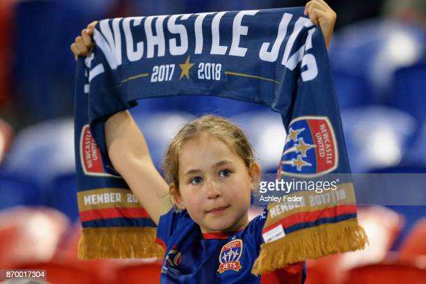 Jets fan shows their support during the round five ALeague match between the Newcastle Jets and the Wellington Phoenix at McDonald Jones Stadium on...