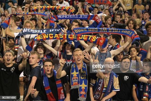 Jets fans during the round 15 ALeague match between the Newcastle Jets and the Central Coast Mariners at McDonald Jones Stadium on January 9 2018 in...
