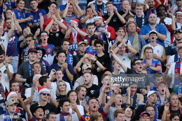 Jets fans support their team during the round 12 ALeague match between the Newcastle Jets and the Western Sydney Wanderers at McDonald Jones Stadium...