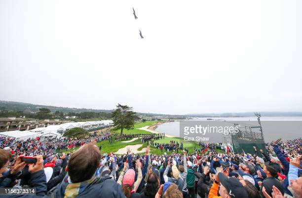 Jets fly by the course ahead of the trophy presentation at the 2019 U.S. Open at Pebble Beach Golf Links on June 16, 2019 in Pebble Beach, California.