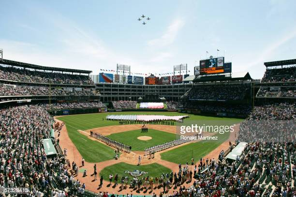 Jets fly over Ameriquest Field in Arlington before the Opening Day game between the Texas Rangers and Boston Red Sox on April 3, 2006 in Arlington,...