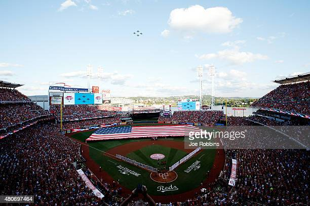 Jets fly over during the national anthem prior to the 86th MLB AllStar Game at the Great American Ball Park on July 14 2015 in Cincinnati Ohio