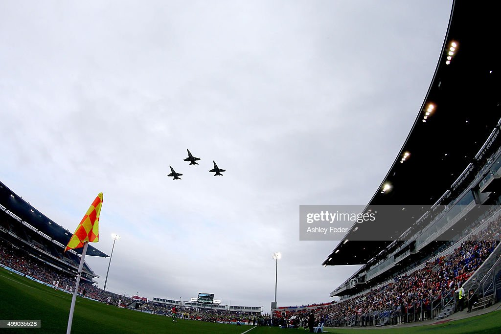 Jets fly over Hunter Stadium before the round eight A-League match between the Newcastle Jets and Brisbane Roar at Hunter Stadium on November 28, 2015 in Newcastle, Australia.