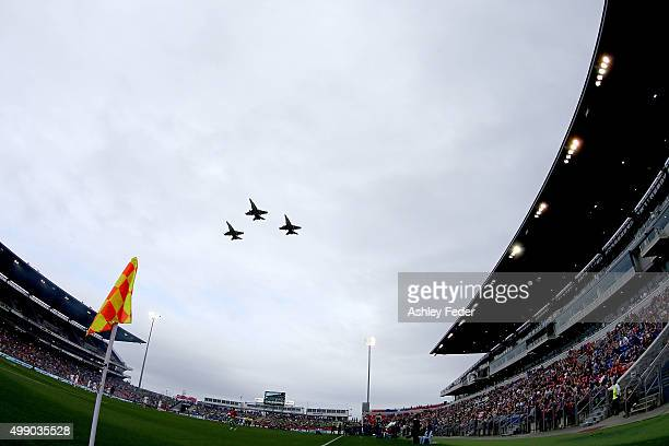 Jets fly over Hunter Stadium before the round eight ALeague match between the Newcastle Jets and Brisbane Roar at Hunter Stadium on November 28 2015...