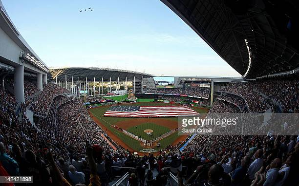 Jets fly over Marlins Park on Opening Day before a game between the Miami Marlins and the St. Louis Cardinals on April 4, 2012 in Miami, Florida.