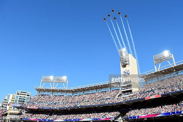 Jets fly over Petco Park before the 87th Annual MLB AllStar Game at PETCO Park on July 12 2016 in San Diego California