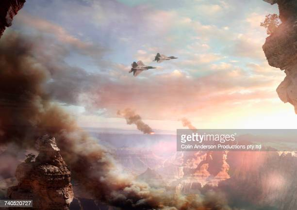 jets flying over canyon at sunset - war stock pictures, royalty-free photos & images