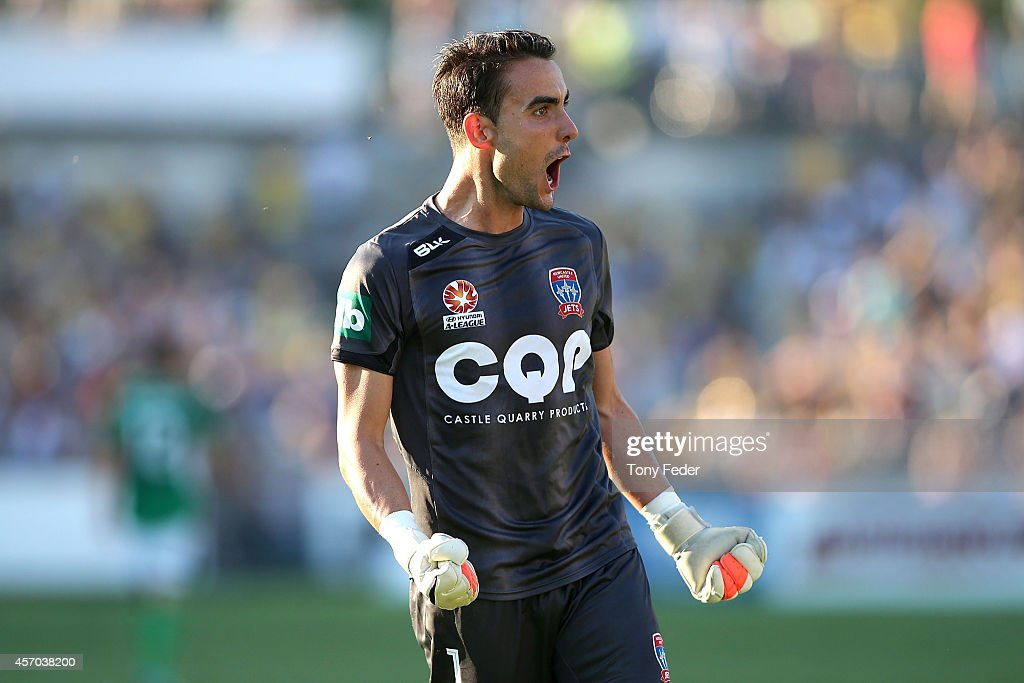 Jets goalkeeper Mark Birighitti celebrates a Jets goal during the round one A-League match between the Central Coast Mariners and the Newcastle Jets at Central Coast Stadium on October 11, 2014 in Gosford, Australia.