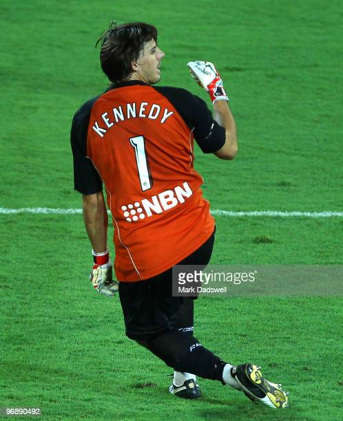 Jets keeper Ben Kennedy pumps his fist after making the save to win the ALeague semi final match between Gold Coast United and the Newcastle Jets at...