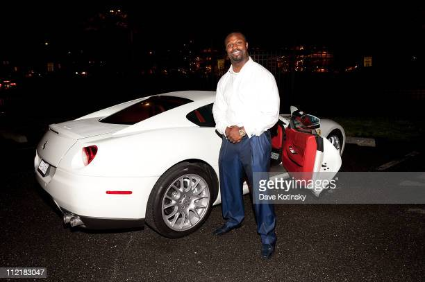 Jets linebacker Bart Scott attends the Bentley Parsippany launch of the new Continental GT at Atlantic Aviation on April 13 2011 in Teterboro New...