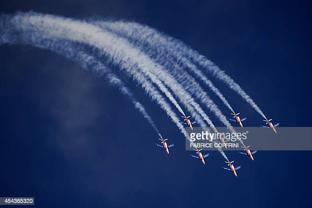 Jets of the The Patrouille de France perform during the first day of AIR14 airshow on August 30 2014 in Payerne western Switzerland The airshow...