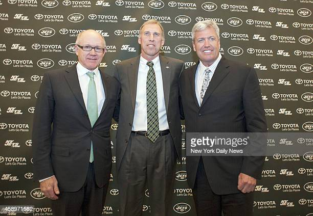 Jets Owner Woody Johnson and Head Coach Rex Ryan Jets announce their new General Manager John Idzik at a press conference held at their practice...