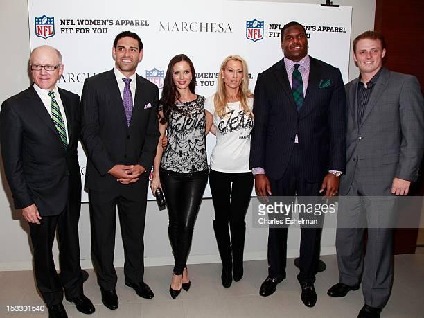 NY Jets owner Woody Johnson NY Jets quarterback Mark Sanchez designer Georgina Chapman Suzanne Johnson NY Jets left tackel D'Brickashaw Ferguson and...