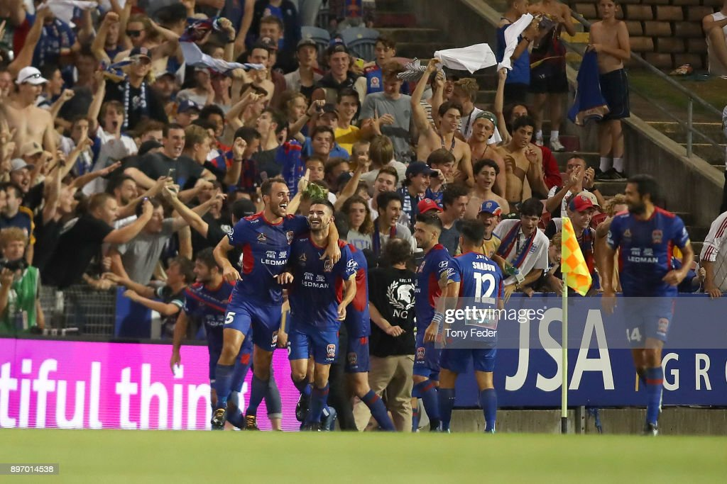 Jets players celebrate a goal during the round 12 A-League match between the Newcastle Jets and the Western Sydney Wanderers at McDonald Jones Stadium on December 22, 2017 in Newcastle, Australia.