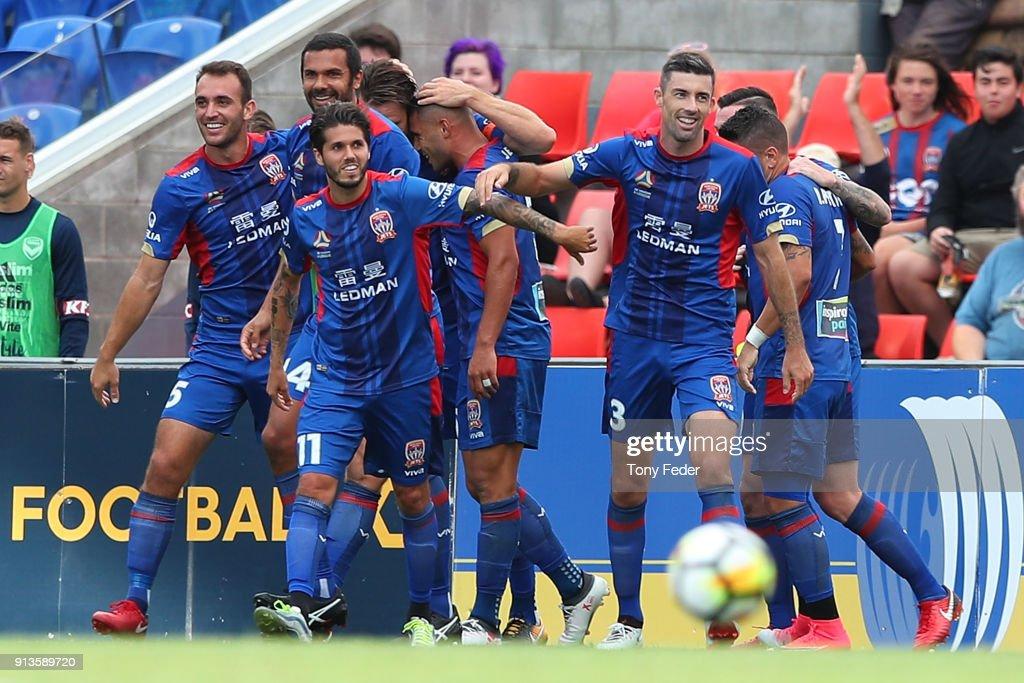 A-League Rd 19 - Newcastle v Melbourne : News Photo