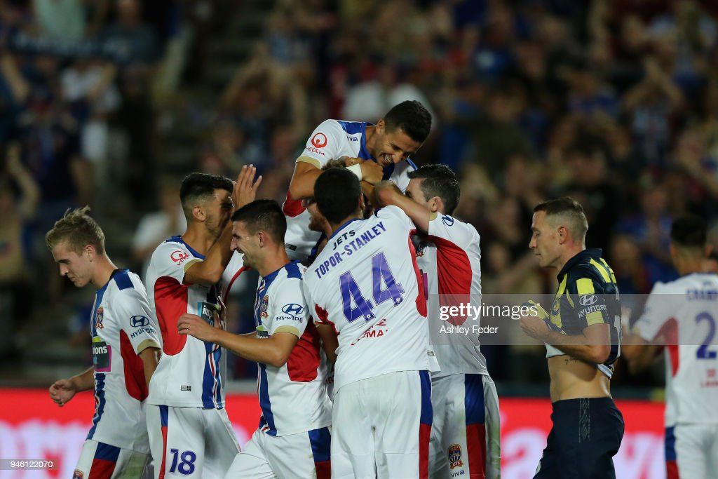Jets players celebrate a goal during the round 27 A-League match between the Central Coast Mariners and the Newcastle Jets at Central Coast Stadium on April 14, 2018 in Gosford, Australia.
