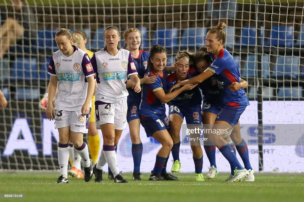 Jets players celebrate a goal during the round eight W-League match between the Newcastle Jets and the Perth Wildcats at McDonald Jones Stadium on December 16, 2017 in Newcastle, Australia.
