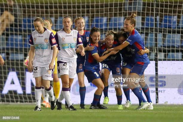 Jets players celebrate a goal during the round eight WLeague match between the Newcastle Jets and the Perth Wildcats at McDonald Jones Stadium on...