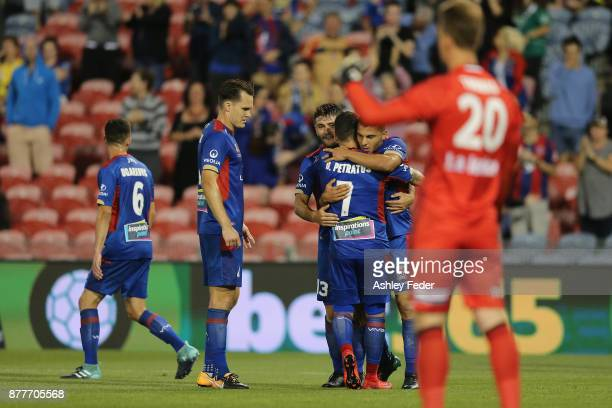 Jets players celebrate a goal from Dimitri Petratos during the round eight ALeague match between the Newcastle Jets and the Melbourne Victory at...