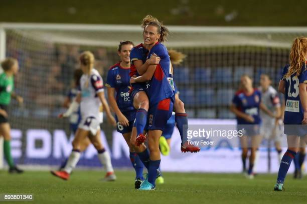 Jets players celebrate a goal that made the score level during the round eight WLeague match between the Newcastle Jets and the Perth Wildcats at...