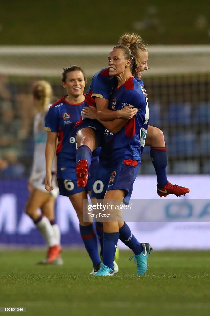 Jets players celebrate a goal that made the score level during the round eight W-League match between the Newcastle Jets and the Perth Wildcats at McDonald Jones Stadium on December 16, 2017 in Newcastle, Australia.