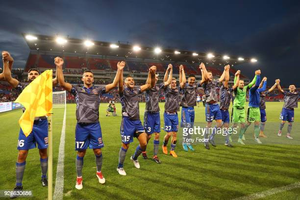 Jets players celebrate after the win over Sydney FC during the round 22 ALeague match between the Newcastle Jets and Sydney FC at McDonald Jones...