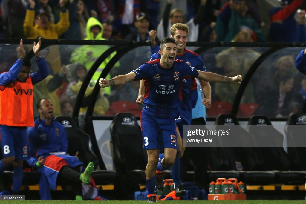Jets players celebrate the win during the A-League Semi Final match between the Newcastle Jets and Melbourne City at McDonald Jones Stadium on April 27, 2018 in Newcastle, Australia.