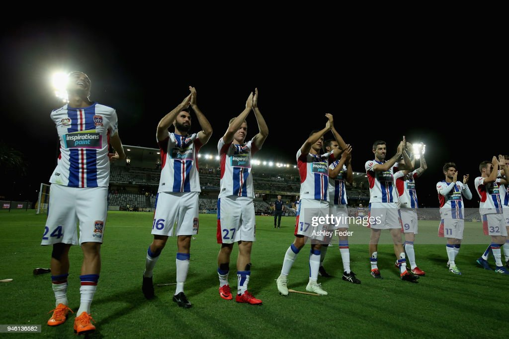 Jets players celebrate the win during the round 27 A-League match between the Central Coast Mariners and the Newcastle Jets at Central Coast Stadium on April 14, 2018 in Gosford, Australia.
