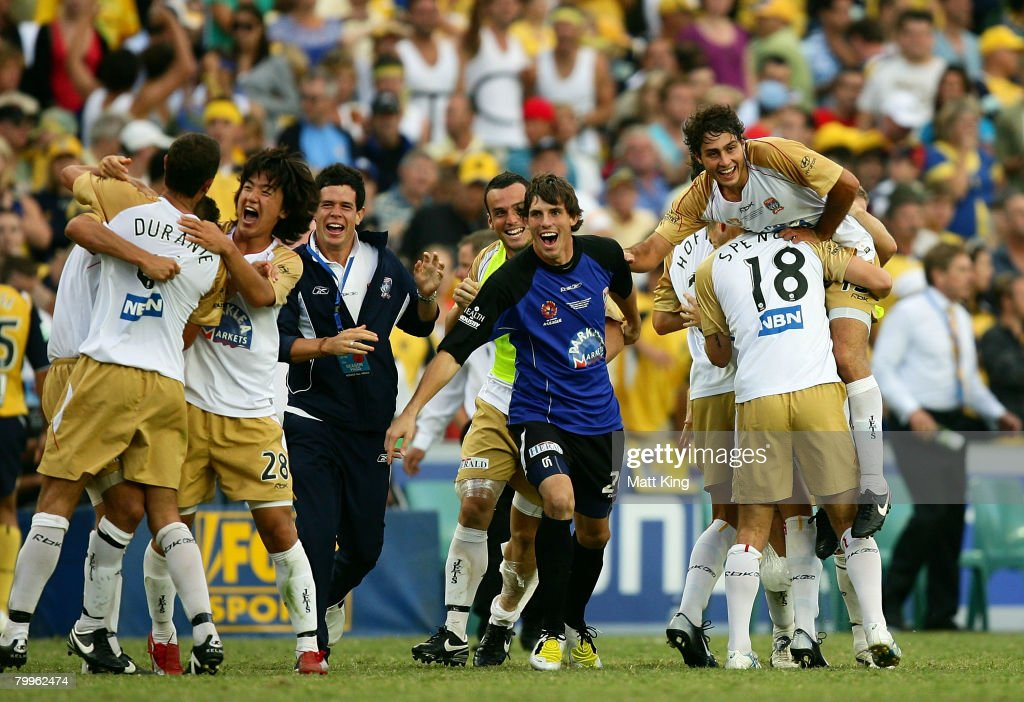 Jets players celebrate winning the A-League Grand Final match between the Central Coast Mariners and the Newcastle Jets at the Sydney Football Stadium on February 24, 2008 in Sydney, Australia.