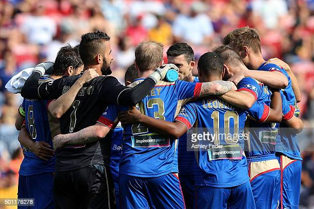 Jets players huddle before the ALeague match between the Newcastle Jets and Melbourne City FC at Hunter Stadium on December 13 2015 in Newcastle...