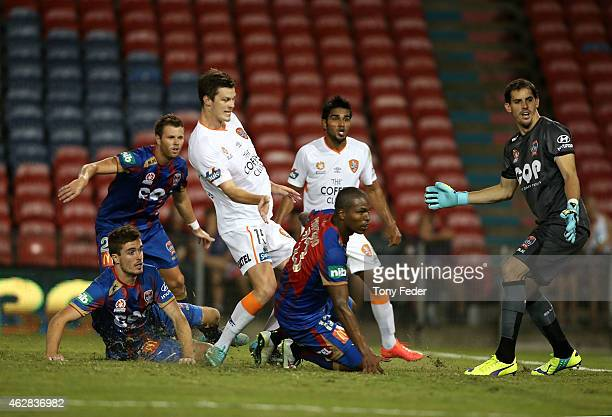 Jets players watch the ball go into the net near the end of the game during the round 16 A-League match between the Newcastle Jets and Brisbane Roar...