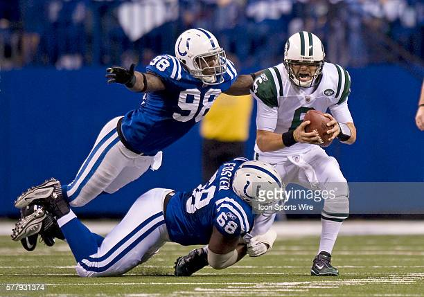 NY Jets quaterback Mark Sanchez is sacked during the first half The New York Jets defeated the Indianapolis Cols 1716 in a AFC Wildcard game at Lucas...