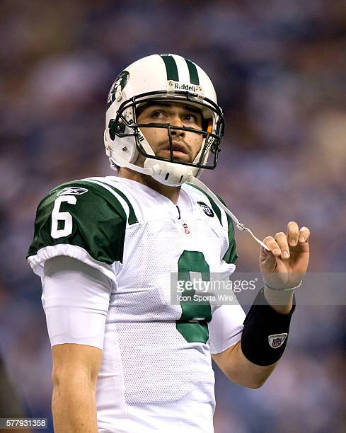 NY Jets quaterback Mark Sanchez walks off the field after turning the ball over during the first half The New York Jets defeated the Indianapolis...
