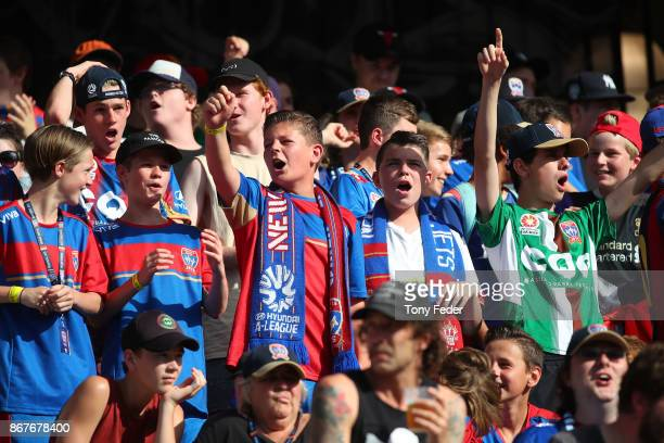 Jets supporters during the round four ALeague match between the Newcastle Jets and the Western Sydney Wanderers at McDonald Jones Stadium on October...