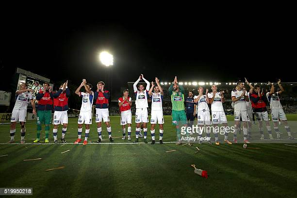 Jets team celebrates the win during the round 27 ALeague match between the Central Coast Mariners and the Newcastle Jets at Central Coast Stadium on...