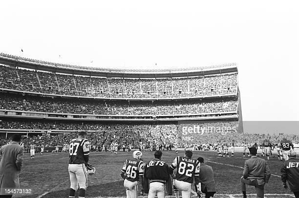 NBC SPORTS AFL NY Jets v Denver Broncos Pictured #87 Laverne Torczon #46 Bill Baird #82 Bert Wilder during the New York Jets vs Denver Broncos game...
