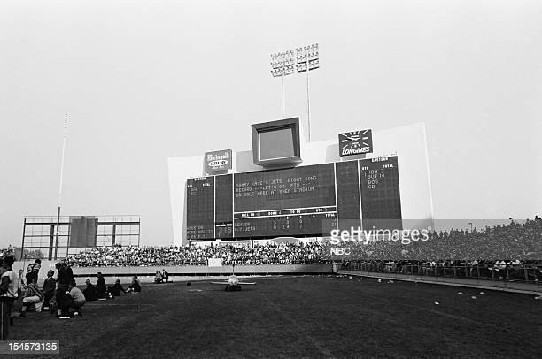 NBC SPORTS AFL NY Jets v Denver Broncos Pictured Scoreboard during the New York Jets vs Denver Broncos game at Shea Stadium in Flushing New York on...