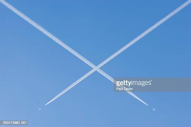Jets vapour trails making X mark (Digital Enhancement)