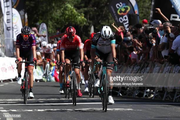 Jetse Bol of Netherlands and Team Burgos - BH, Miguel Eduardo Florez Lopez of Colombia and Team Arkéa - Samsic & Robert Stannard of Australia and...
