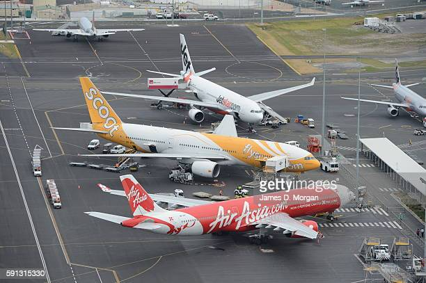 Jetstar Air Asia and Scoot at Gold Coast Airport on August 10th 2012 in Gold Coast Australia