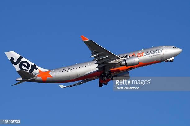 Jetstar Airbus A330-200 VH-EBA rotating from Sydney Airport Runway 34L.