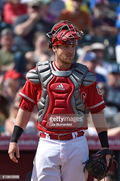 Jett Bandy of the Los Angeles Angels of Anaheim plays catcher against the Seattle Mariners at Tempe Diablo Stadium on March 15 2016 in Tempe Arizona