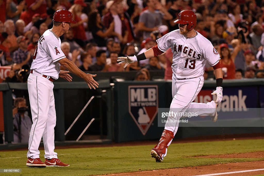 Jett Bandy #13 of the Los Angeles Angels of Anaheim runs the bases after hitting a solo homerun in the fifth inning against the Seattle Mariners at Angel Stadium of Anaheim on August 18, 2016 in Anaheim, California.